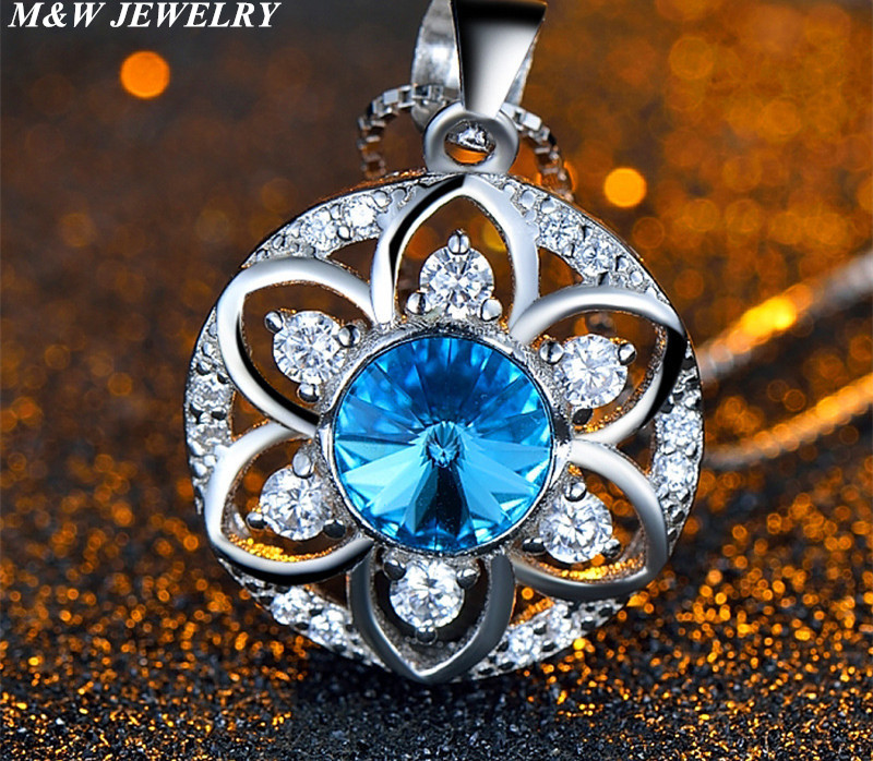 M&W JEWELRY 925 sterling silver pendant eight heart eight arrows first class goods Austrian crystal for women pendant necklace