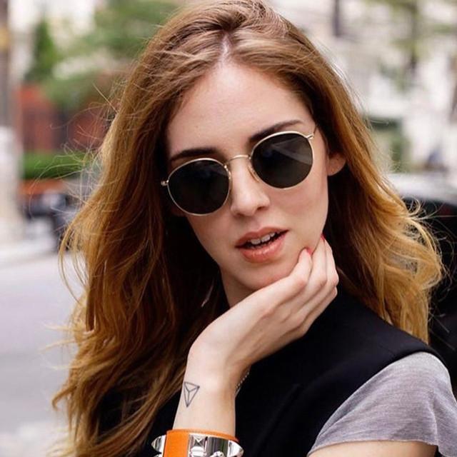Gold Metal Frame Sunglasses Women Mirror Round Sun Glasses Coating Reflective Retro Sun Glasses Brand Designer Trend Eyewear