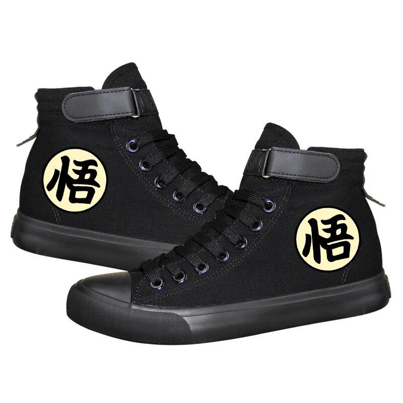 Anime Dragon Ball Z Print Canvas Shoes Cool Saiyan Son Goku Cos Boots for Halloween Party Mens High-top Vulcanized Shoes A51407 стоимость