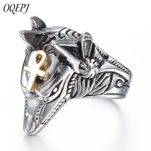 OQEPJ Hiphop Rock Wolf Head Male Fine Rings Stainless Steel Silver Color Jewelry Animal Men Prevent allergy Ring For Wedding chic wolf head shape ring for men