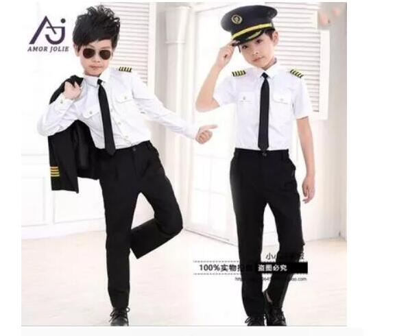 Hot Children Air Force Less Clothing Pilot Uniforms Boy Captain Performing Photography Service Performance clothing AMBESTPARTY Одежда