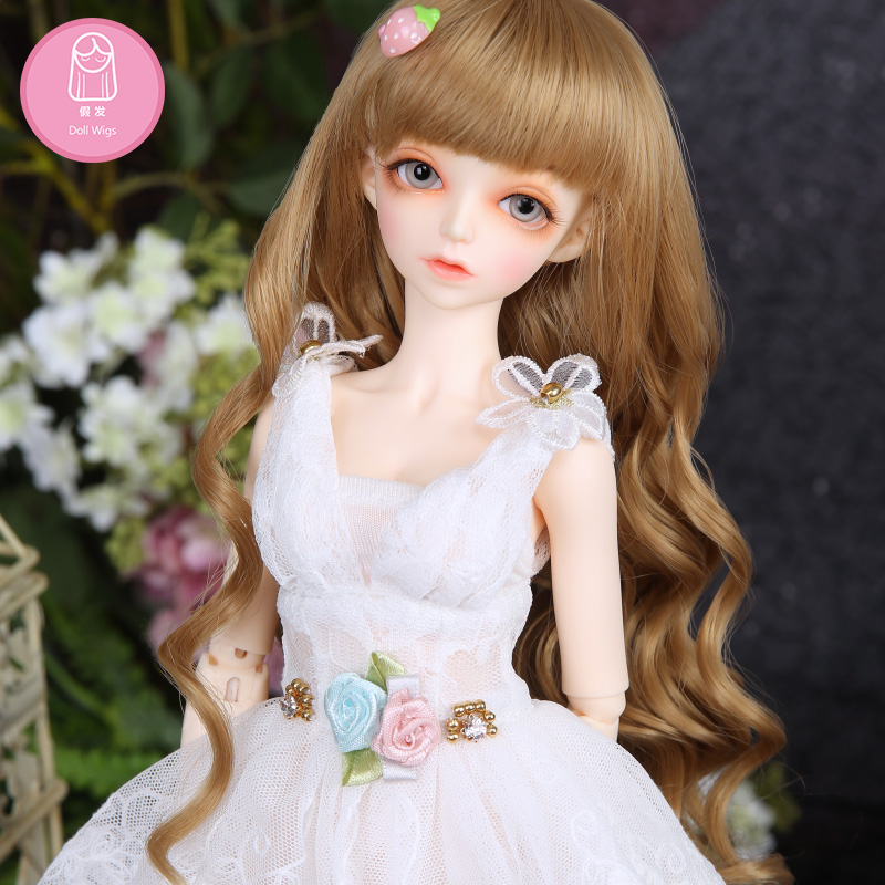 Wig For BJD Doll free shipping bjd Wig 7-8 inch 1/4 high-temperature wig girl short hair doll with bangs fashion type stylish wig for bjd doll 7 8 inch doll accessories high temperature wig 1 4 bjd doll long hairstyle l4 02 1bcolor lovely hair delicate