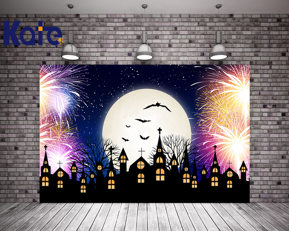 Kate Halloween Backdrops Photography Moon Fireworks Photo Studio Backdrop City Children Photography Backdrop Washable