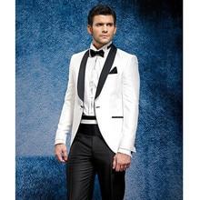 Custom Made White Jacket Black Pants Summer Suit Beach Dress Tuxedos Men Suit Tuxedo Tailcoat Wedding Traje De Novio Costume Uom