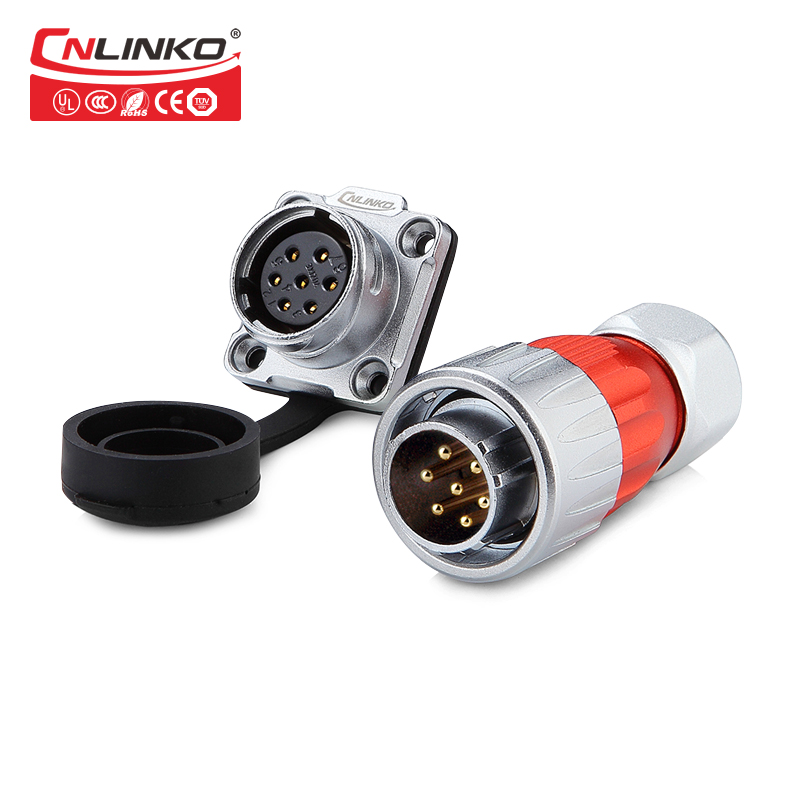 CNLINKO Metal DH-20 Series 7 Pin Waterproof Connector Panel Mount M20 Connector Aviation Plug Cable Connectors Rated Current 12A