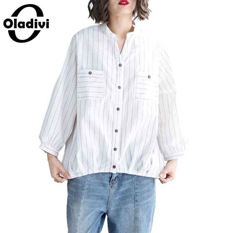 Oladivi grande taille femmes vêtements mode rayé poches Blouses dames automne 2019 nouvelles chemises femme tunique Blusas blanc noir
