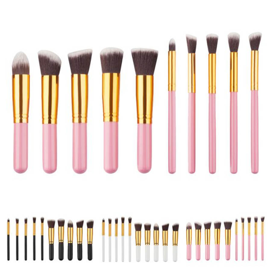 3Colors 10PCS Cosmetic Makeup Brush Brushes Set Foundation Powder Eyeshadow High Quality Fashion Jul12 MG Drop Ship