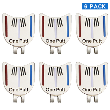 Pack Of 6 Pcs One Putt Design Golf Ball Mark Plus Magnetic Golf Hat Clip Golf Marker Drop Ship