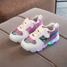 Kids Baby Infant Girls Boys Sequins Lightning LED Luminous Sport Shoes Sneakers led child shoes usb 7 size shoes for boy baby(China)