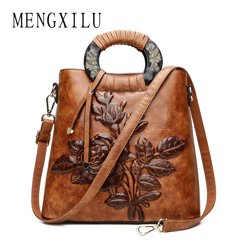 MENGXILU Chinoiserie Embossing Leather Women Bags Handbags Women Famous Brands Big Shell Floral Vintage Women Shoulde
