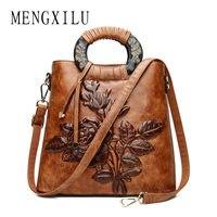 MENGXILU Chinoiserie Embossing Leather Women Bags Handbags Women Famous Brands Big Shell Floral Vintage Women Shoulde Bag Female