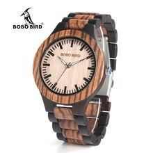Bobo bird mens relojes de lujo superior de ébano de madera reloj con movimiento de japón en caja de regalo relojes mujer 2017
