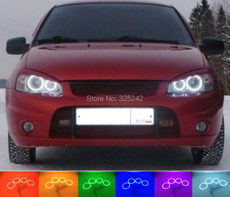 ФОТО  For Lada Kalina 1119 1118 1117 119 117 2005-2013 Excellent Angel Eyes Multi-Color Ultrabright RGB LED Angel Eyes kit Halo Rings
