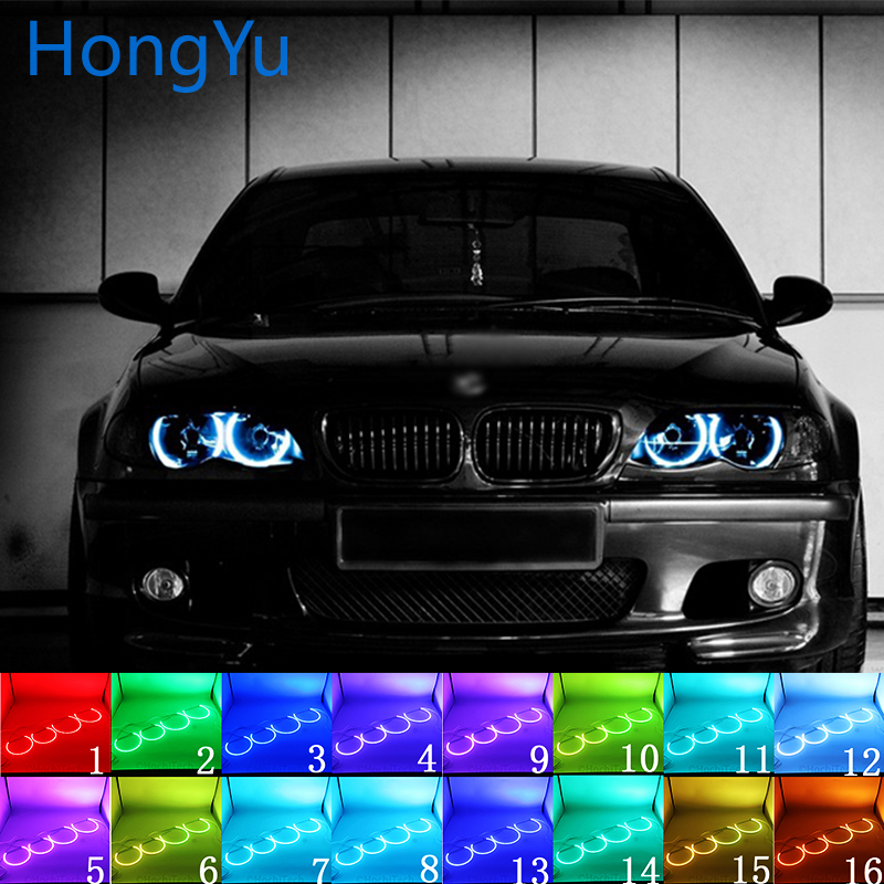 For BMW 3 Series E46 Sedan Facelift 2001-05 Accessories Headlight Multi-color LED Angel Eyes Halo Ring Eye DRL RF Remote Control