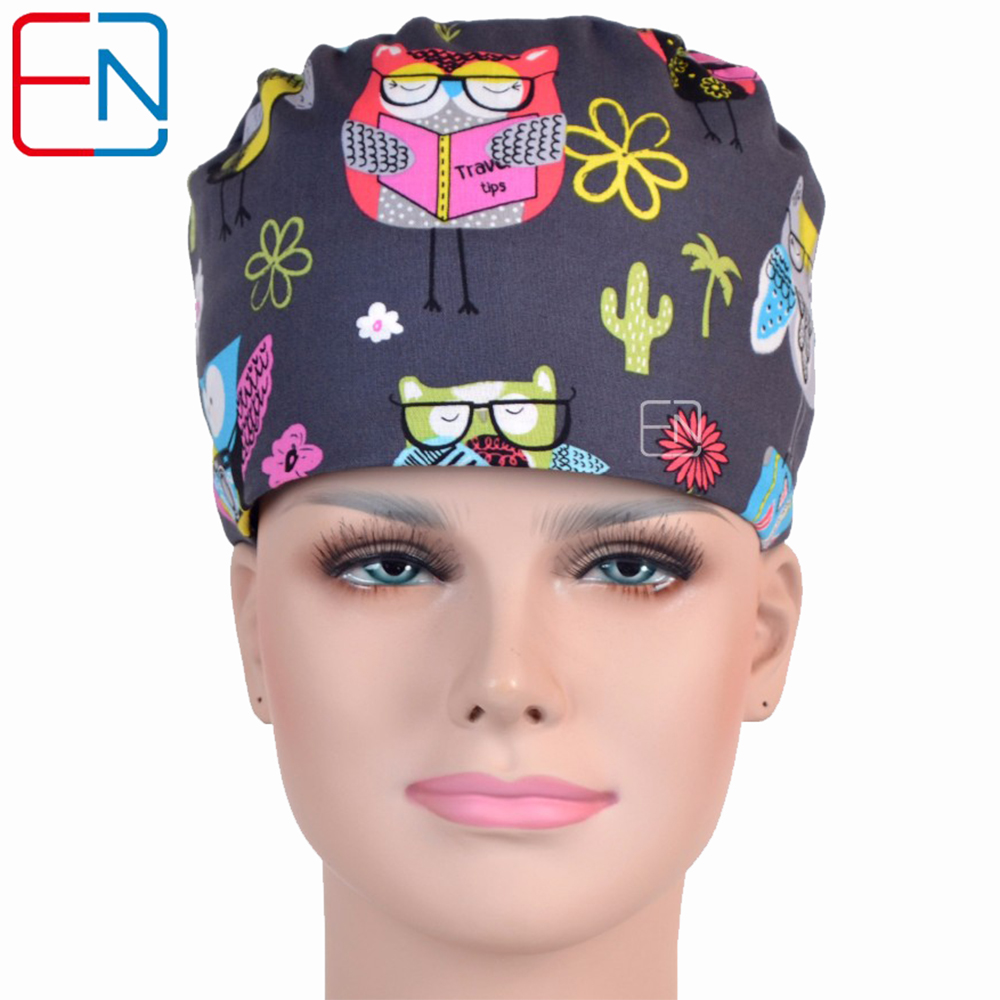 Hennar Medical Scrub Caps 100% Cotton With Sweatband Caps Night Owls Pattern Print Hospital Medical Scrub Caps For Women Doctors
