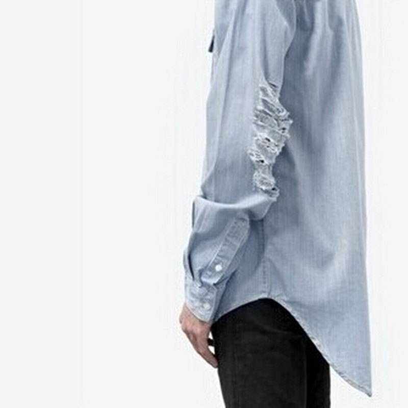 Brand European And American Style Rear Longer Men Denim Shirts Bleach  Washed Light Blue Ripped Hole Loose Man Shirts d6ca86d7816