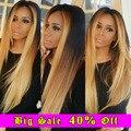 Ombre Перуанский Девы Волос Прямой 3 Связки 1B 4 27 30 Ломбер Блондинка Человеческих Волос Лучший Перуанский Прямые Волосы Pervian