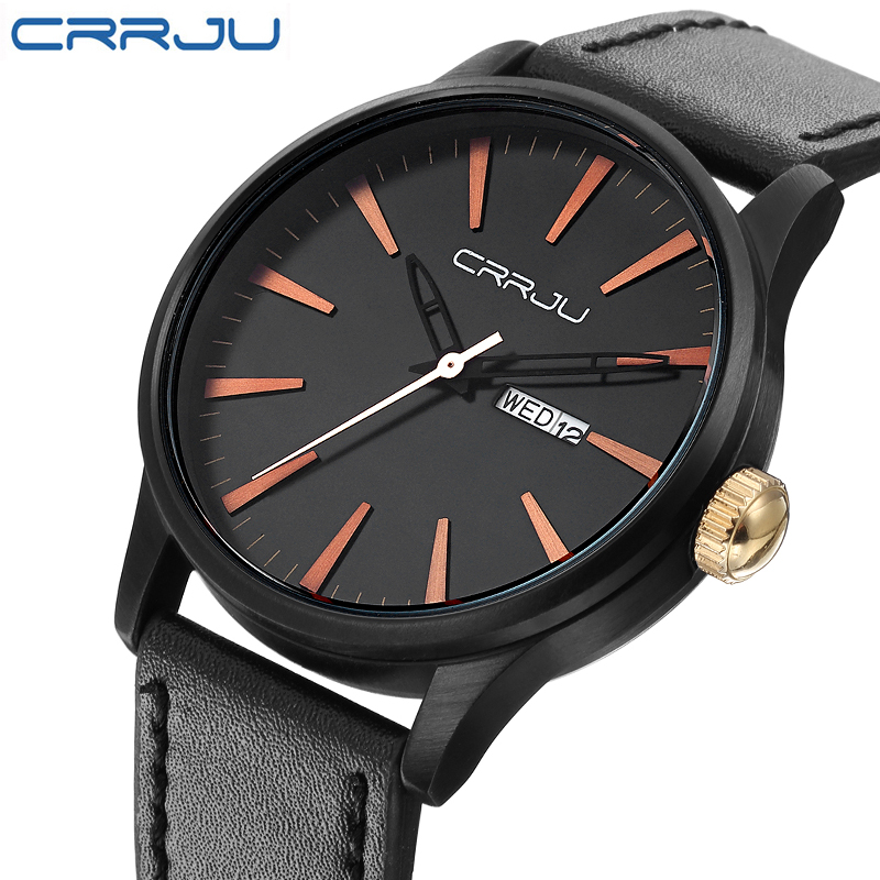 CRRJU New Fashion Men Watches Army Military Sports Quartz Date Clock Male Luxury Brand Black Leather