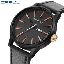 CRRJU Nueva Moda Relojes de Los Hombres Del Ejército Militar Deportes Cuarzo Fecha Reloj Hombre de Lujo de la Marca Correa de Cuero Negro Reloj de Pulsera