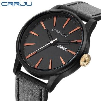 CRRJU New Fashion Pria Jam Tangan Tentara Militer Olahraga Quartz Tanggal Jam Pria Merek Mewah Tali Kulit Hitam Wrist Watch