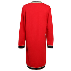 Image 2 - Mulheres De Longo Cardigan 2019 Runway Designer V neck Único Breasted Bolsos Vermelho Cardigan Oversized Sweater Casaco de Malha Outwear
