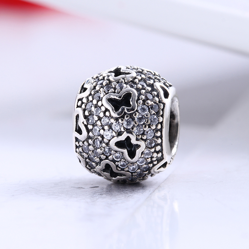 100% 925 Sterling Silver Fit Original Pandora Bracelet Butterfly Pave Clear CZ Round Ball Charm Beads for Jewelry Making Gift
