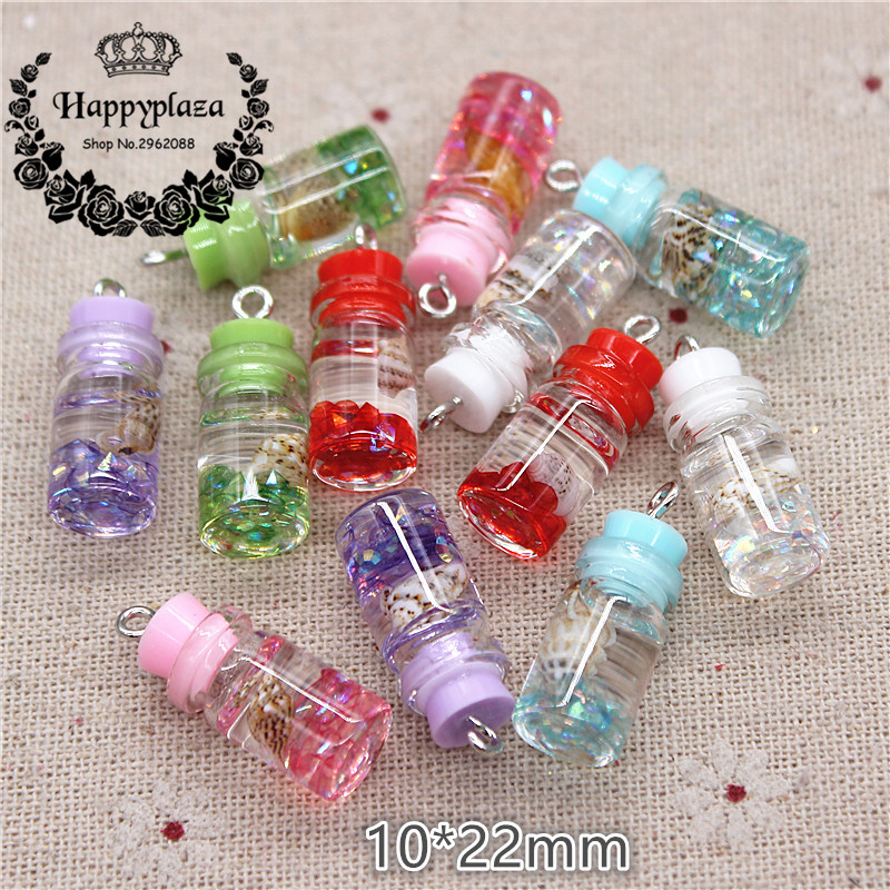 10pcs New Design Mix Colors 3D Mini Glass Drifting Bottle Sealed With Conch Iron Hook DIY Craft/Jewelry Accessory,10*22mm