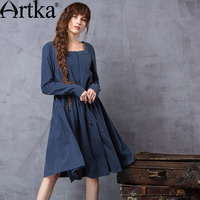 Artka Women S Autumn New Solid Color Embroidery Dress Vintage Square Collar Long Sleeve Drawstring Waist