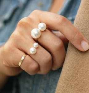 European and American trade jewelry fashion street shoot joint imitation pearl ring size adjustable ring for women free shipping