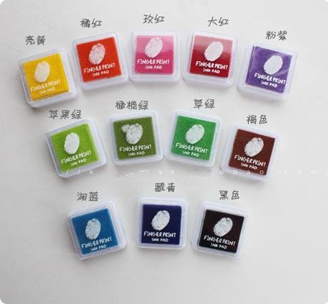 Freeshipping12candy Color New Creative Cute Ink Pad Personality Stamp Fingerprint
