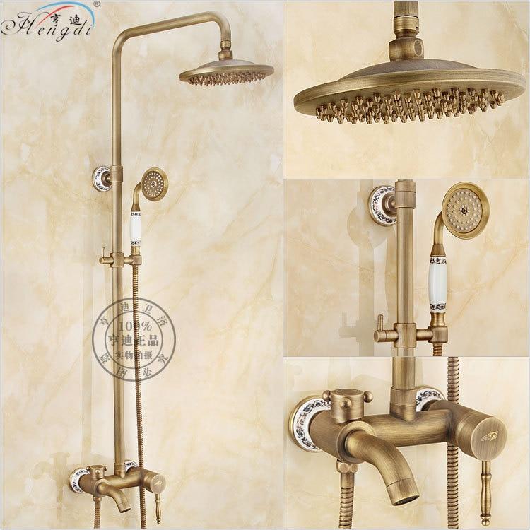 Bathroom Retro antique copper Brass Shower Set Wall Mounted Phone Ceramic Handheld Mixer Tap Faucet 3-functions Mixer Valve