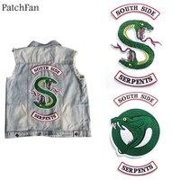 Patchfan TV-SHOW ривердейл зеленая змея Southside Serpents термонаклейки para рубашка сумка Одежда Куртка вышитый логотип A1132
