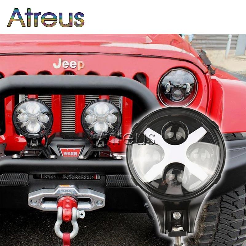 """Osvětlení automobilu Atreus 1X pro Jeep 4x4 4WD Offroad příslušenství s X úhlovými očima, kulatá 6 """"60W LED dioda LED pro řízení mlhy, 12V 24V"""