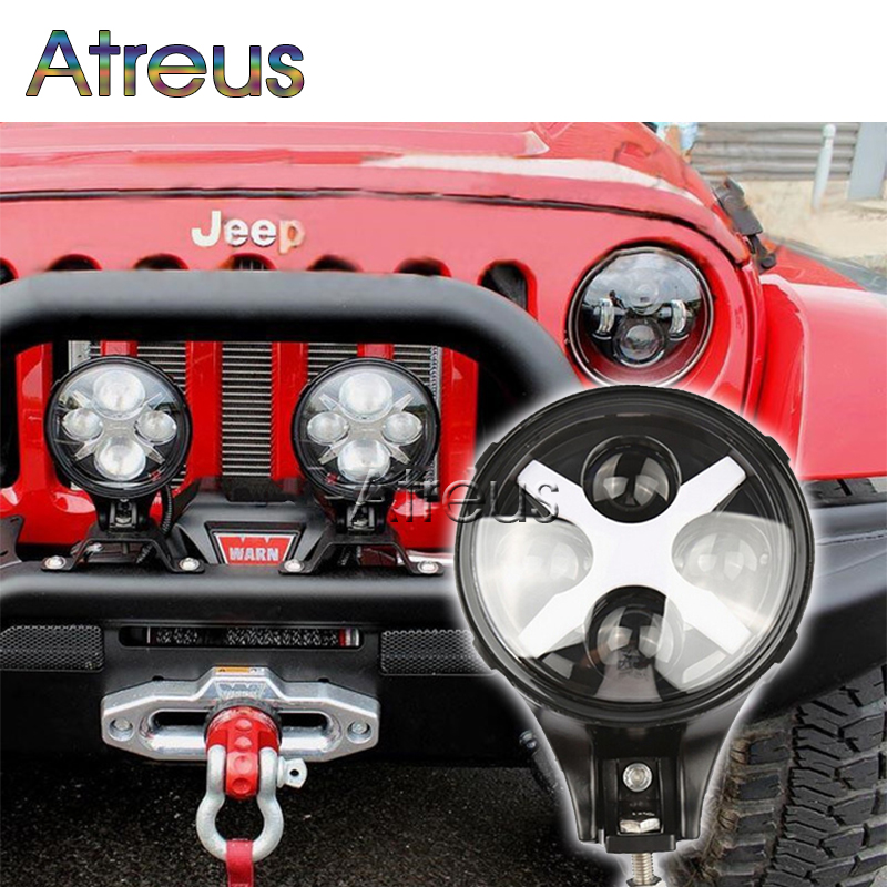 Atreus 1X Car lights For Jeep 4x4 4WD Offroad accessories With X Angle Eyes Round 6 60W Car LED Driving Fog DRL Lamp 12V 24V