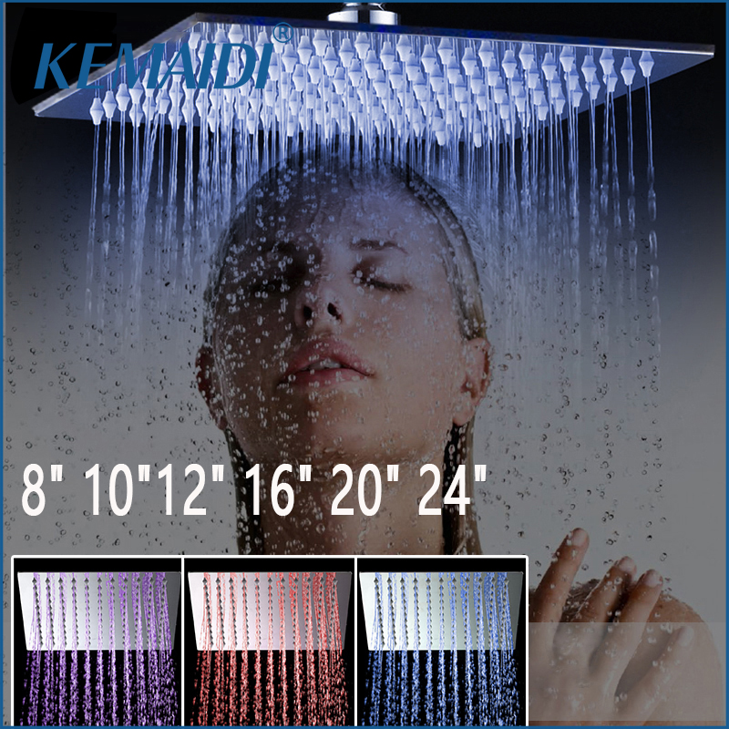 KEMAIDI New Free Shipping 4/6/8/10/12 inch Stainless Steel Showerhead Bathroom Shower Faucet Head Rain Ultrathin Shower Head Set
