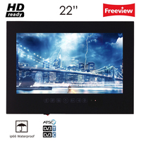 Souria 22 Inch Hotel Indoor Advertising Television Ip66 Waterproof Rated Multifunctional Bathroom LED TV Black White