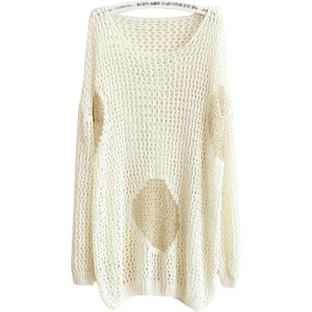 852e68a04885 New Spring Summer Sweater Women Hollow Gold long-sleeved Big Yards Long Loose  Knit Pullover Female Blouses Vestidos LXJ121
