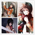 MCOSER Promotion New Attack on Titan Mikasa Ackerman Cosplay 35cm Short Black Anime Wig