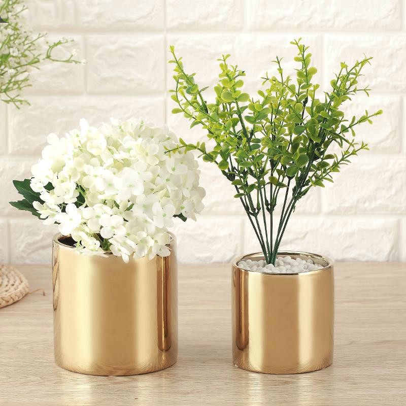 Golden Vase Nordic Plating Ceramic Vase Flower Pot Home Wedding Room Decoration|Flower Pots & Planters| |  - title=