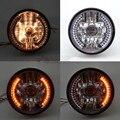 Motocicleta 35 W H4 Oi/Baixa Halogênio Farol W/LED Âmbar Turn Signal Lâmpada Para GN125 CG125 CG200 Cafe Racer Bobber Personalizado