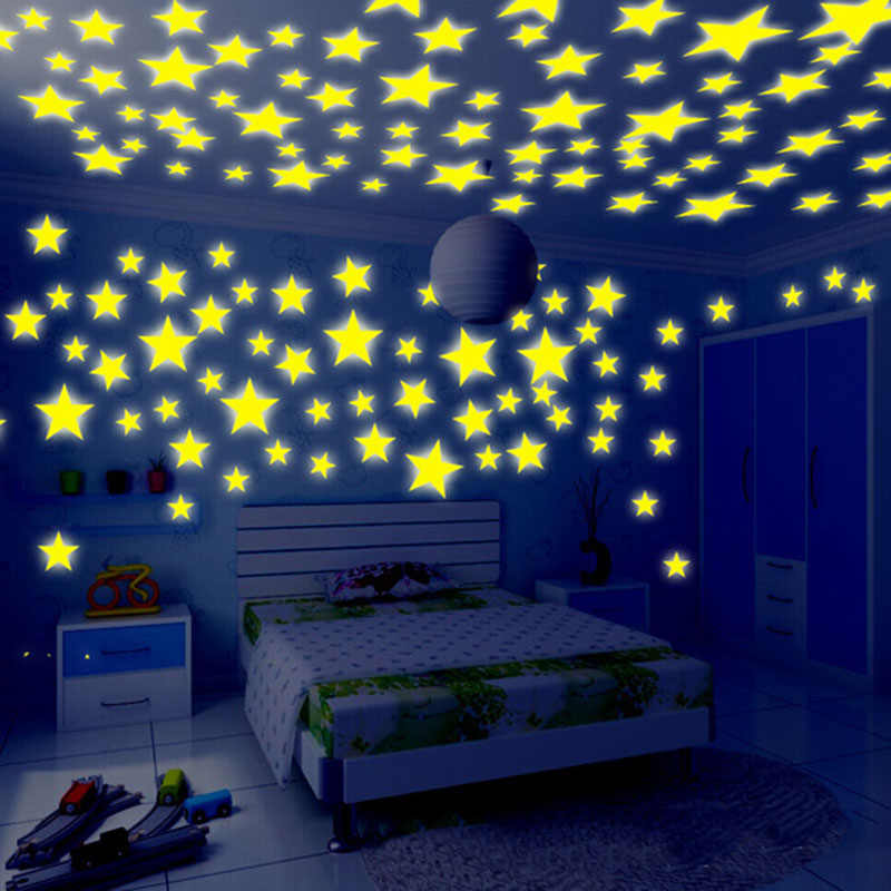 100 pcs 3D Stars Fluorescent Wall Stickers Wallpaper Decorative Special Festive For Kids Baby Room Bedroom Ceiling Home Decor