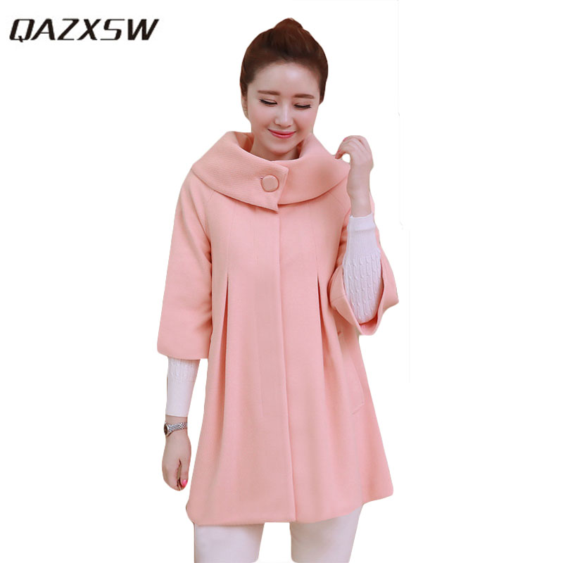 QAZXSW Woman Basic Coat Woman Winter Jacket For Women Woolen Poncho Jacket Single Button Loose Cotton Padded Abrigos Mujer HB118 qazxsw 2017 new winter cotton jacket women basic jackets hooded thick winter coat casual long parkas padded abrigos mujer hb329