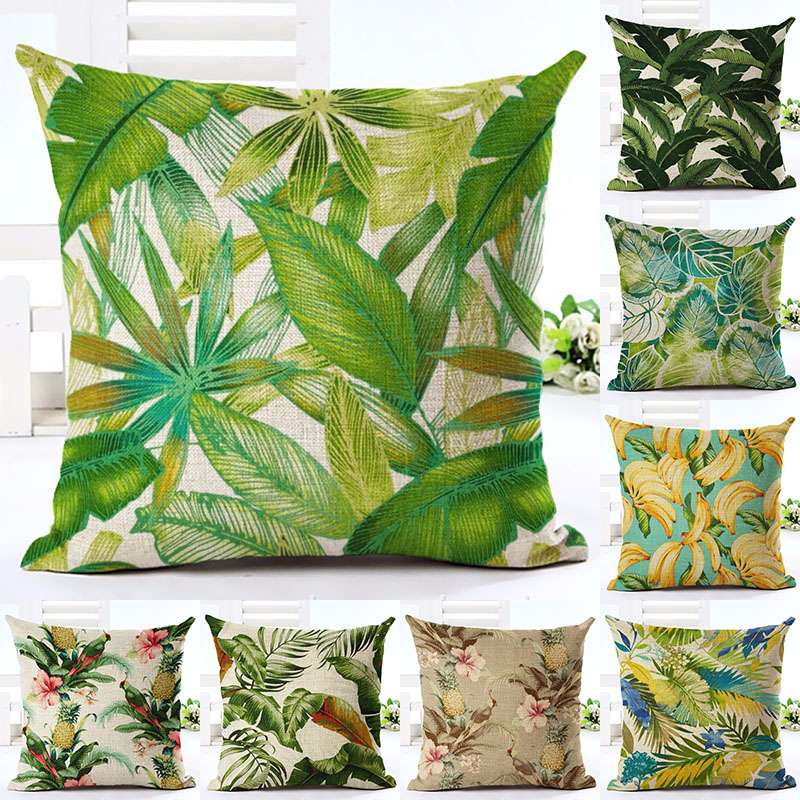 Leaf Flower Plant Printed Cotton Linen Pillowcase Decorative Pillows Cushion Use For Home Sofa Car Office Almofadas Cojines