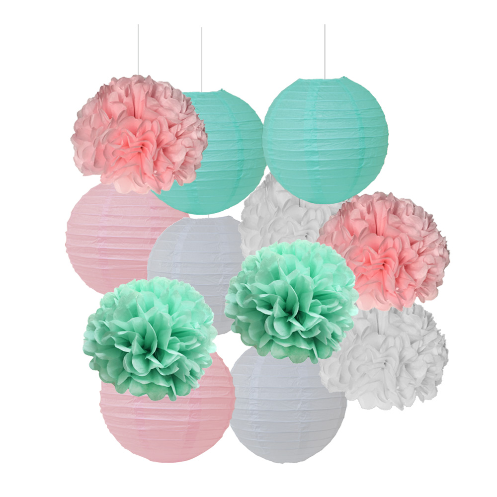 Free Shipping 5 pcs 25cm(10inch) Tissue Paper Pom Poms Wedding Party Decor Craft Paper Flower For Wedding Decoration