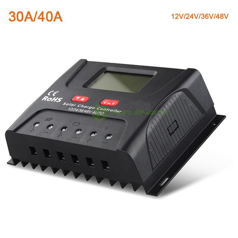 ШИМ Контроллер заряда/регулятор Батарея зарядки 12 В/24 В/36 В/48 vauto 30A /40A выравнивания зарядки с ЖК-дисплей Дисплей