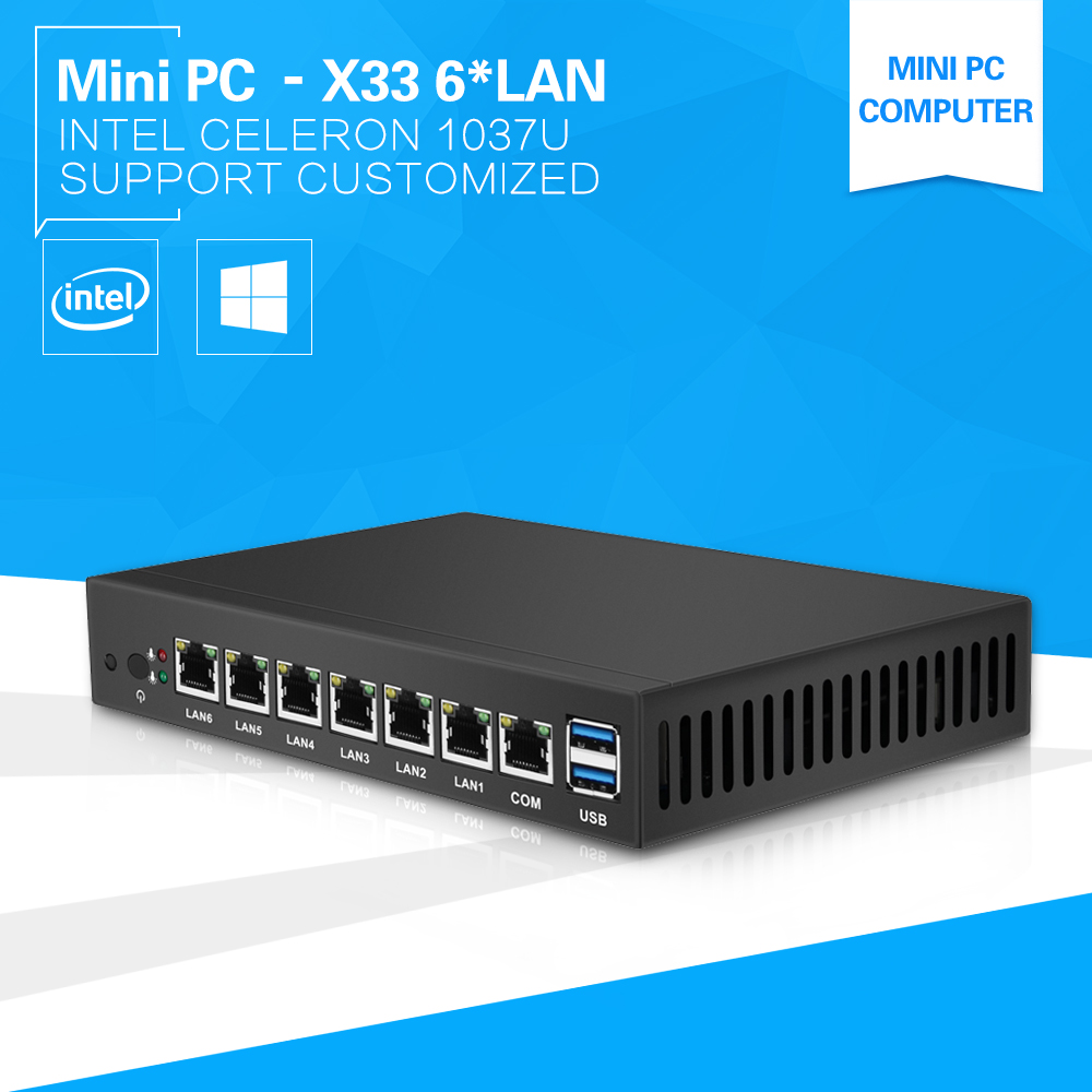 Fanless Mini PC 6*LAN Ports RJ-45 Gigabit Ethernet Celeorn 1037U Dual Core VGA COM Use Pfsense as Router Firewall Windows  new thin client computers with 4 gigabit ethernet lan 1 7g dual core 4g 500g fanless industrial pc x86 network security