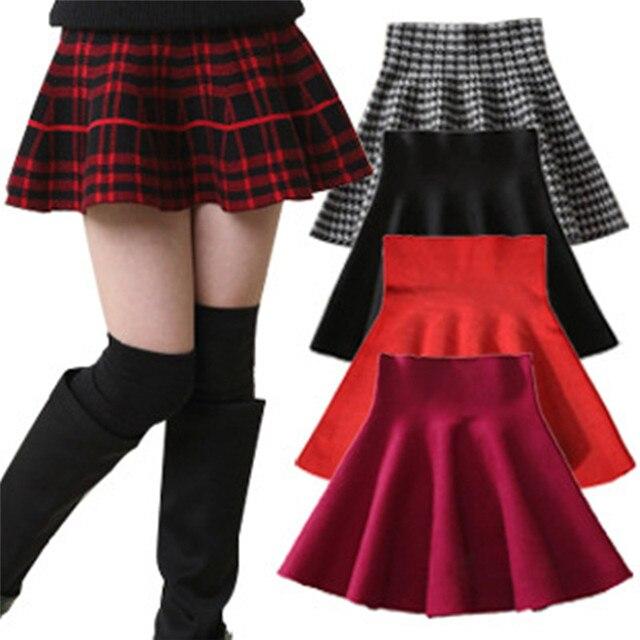 d769635113c Pas cher Enfants Fille Taille Tricot Jupes Noir Rouge Bébé Tutu Jupe  Pettiskirt Jupe À Carreaux