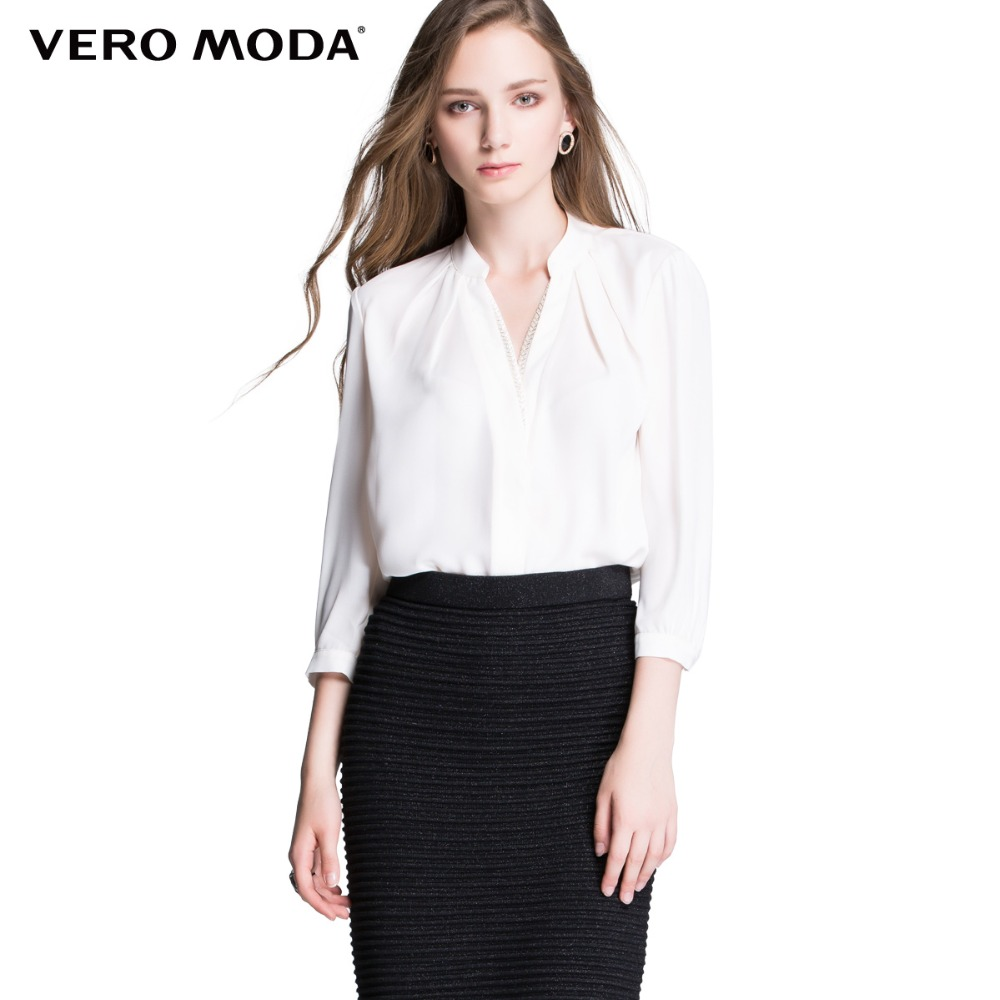 Vero Moda Brand hot Women Fashion Elegant Solid Chiffon Comfortable Business font b Blouses b font