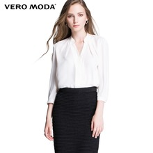 Vero Moda Brand hot Women Fashion Elegant Solid Chiffon Comfortable Business Blouses ladies Casual Shirts Girls Tops 314331014