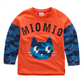 Toddler Baby Fashion Splicing Hoodies Children Boys Girls Lovely Cat Head Camouflage Long Sleeve Tops Blouse Kids Autumn Outwear